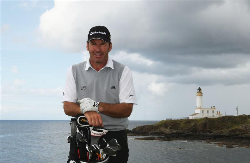 TURNBERRY, SCOTLAND - JULY 14:  Sir Nick Faldo of England poses for a photo during a practice round prior to the 138th Open Championship on the Ailsa Course, Turnberry Golf Club on July 14, 2009 in Turnberry, Scotland.  (Photo by Warren Little/Getty Images)