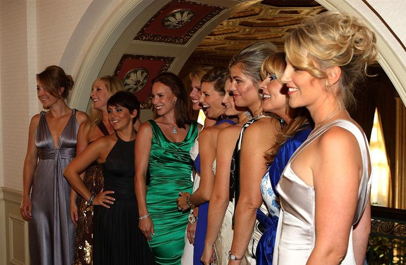 LOUISVILLE, KY - SEPTEMBER 17:  The wives and partners of the European Ryder Cup team pose before the Ryder Cup Gala inside the Brown Hotel prior to the start of the 2008 Ryder Cup on September 17, 2008 in Louisville, Kentucky. (Photo by Ross Kinnaird/Getty Images)