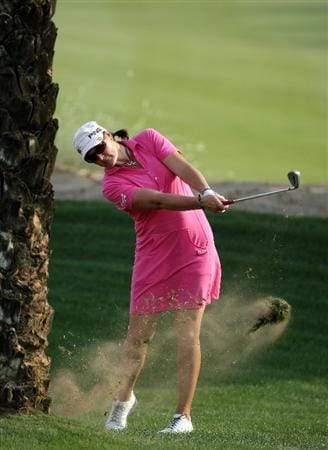 DUBAI, UNITED ARAB EMIRATES - DECEMBER 10:  Maria Hjorth of Sweden plays her second shot at the 16th hole during the second round of the Dubai Ladies Masters, on the Majilis Course at the Emirates Golf Club on December 10, 2009 in Dubai, United Arab Emirates.  (Photo by David Cannon/Getty Images)