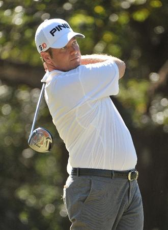 SAN ANTONIO, TX - OCTOBER 9:  Ted Purdy tees off the 15th hole during the first round of the Valero Texas Open at La Cantera Golf Club on October 9, 2008 in San Antonio, Texas.  (Photo by Marc Feldman/Getty Images)