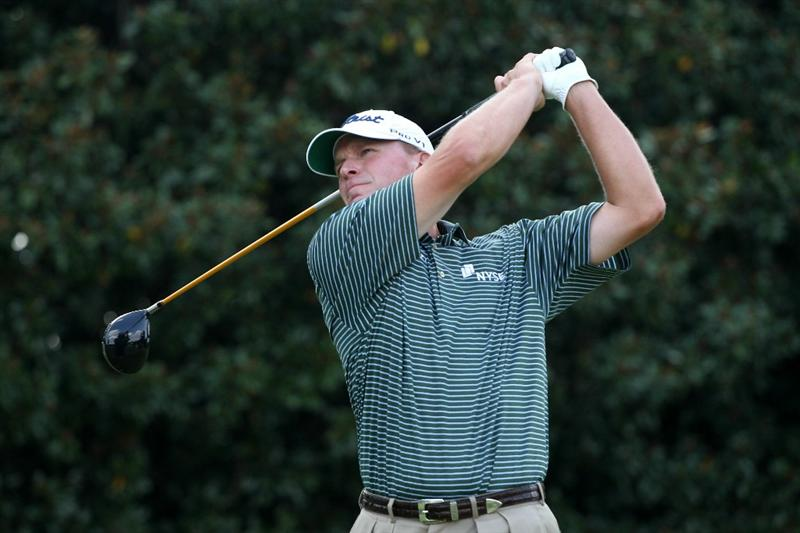 ATLANTA - SEPTEMBER 23:  Steve Stricker hits his tee shot on the fifth hole during the first round of THE TOUR Championship presented by Coca-Cola at East Lake Golf Club on September 23, 2010 in Atlanta, Georgia.  (Photo by Scott Halleran/Getty Images)