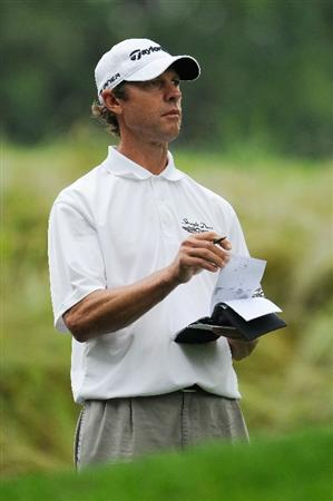 FARMINGDALE, NY - JUNE 19:  Jeff Brehaut looks on from the tee on the fourth hole during the continuation of the first round of the 109th U.S. Open on the Black Course at Bethpage State Park on June 19, 2009 in Farmingdale, New York.  (Photo by Sam Greenwood/Getty Images)
