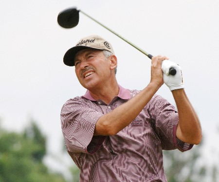 Morris Hatalsky  drives from the seventh  tee  during   the final  round of the 2005 Blue Angels Class  May 15 in Milton, Fl.Photo by Al Messerschmidt/WireImage.com
