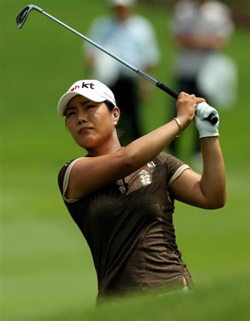 KUALA LUMPUR, MALAYSIA - OCTOBER 24 : Meena Lee of Korea Republic hits her shot on the 14th hole during the Final Round of the Sime Darby LPGA on October 24, 2010 at the Kuala Lumpur Golf and Country Club in Kuala Lumpur, Malaysia. (Photo by Stanley Chou/Getty Images)