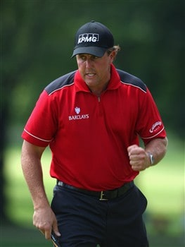 AKRON, OH - AUGUST 01:  Phil Mickelson of USA reacts to his putt on the ninth hole during second round of the World Golf Championship Bridgestone Invitational on August 1, 2008 at Firestone Country Club in Akron, Ohio.  (Photo by Stuart Franklin/Getty Images)