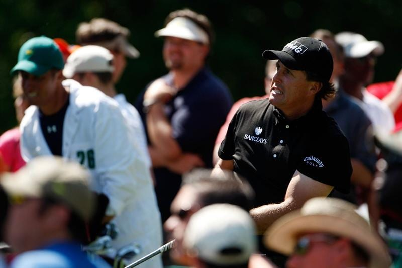AUGUSTA, GA - APRIL 12:  Phil Mickelson watches his tee shot on the ninth hole during the final round of the 2009 Masters Tournament at Augusta National Golf Club on April 12, 2009 in Augusta, Georgia.  (Photo by Jamie Squire/Getty Images)
