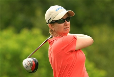 MT. PLEASANT, SC - MAY 30:  Karrie Webb of Australia watches her tee shot on the 16th hole during the second round of the Ginn Tribute at RiverTowne Country Club on May 30, 2008 in Mt. Pleasant, South Carolina.  (Photo by Scott Halleran/Getty Images)