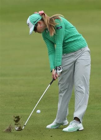 LYTHAM ST ANNES, ENGLAND - AUGUST 01:  Paula Creamer of USA hits her second shot on the 2nd hole during the third round of the 2009 Ricoh Women's British Open Championship held at Royal Lytham St Annes Golf Club, on August 1, 2009 in Lytham St Annes, England.  (Photo by David Cannon/Getty Images)