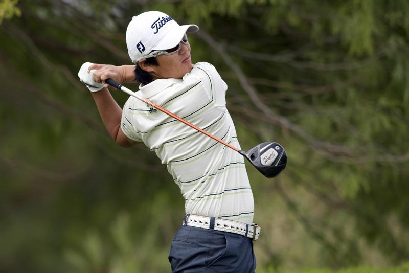 LAS VEGAS, NV - OCTOBER 24: Ryuji Imada of Japan tees off on the second hole during the final round of the Justin Timberlake Shriners Hospitals for Children Open at TPC Sunderlin on October 24, 2010 in Las Vegas, Nevada. (Photo by Steve Dykes/Getty Images)
