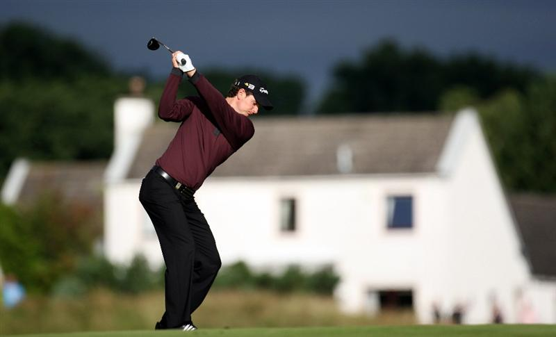 PERTH, UNITED KINGDOM - AUGUST 29:  Justin Rose of England plays his second shot to the par five 12th hole during the second round of The Johnnie Walker Championship at Gleneagles on August 29, 2008 at the Gleneagles Hotel and Resort in Perthshire, Scotland.  (Photo by Ross Kinnaird/Getty Images)