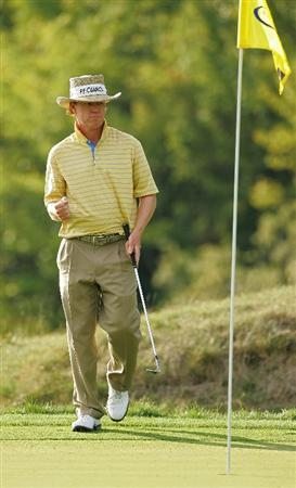 NORTON, MA - AUGUST 29:  Briny Baird reacts as he chips in for birdie on the eighth hole during the first round of the Deutsche Bank Championship at TPC of Boston held on August 29, 2008 in Norton, Massachusetts.  (Photo by Michael Cohen/Getty Images)