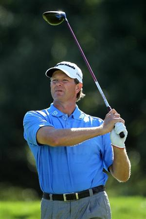 LEMONT, IL - SEPTEMBER 10:  Retief Goosen of South Africa watches his tee shot on the fifth hole during the second round of the BMW Championship at Cog Hill Golf & Country Club on September 10, 2010 in Lemont, Illinois.  (Photo by Jamie Squire/Getty Images)