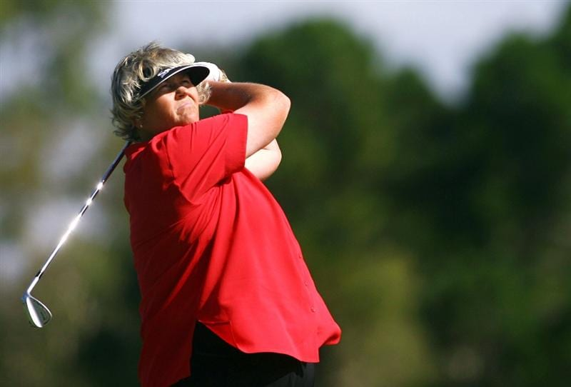 BRISBANE, AUSTRALIA - FEBRUARY 05:  Laura Davies of England plays a shot on the fifth hole during day one of the 2009 ANZ Ladies Masters held at Royal Pines Resort February 5, 2009 in Brisbane, Australia.  (Photo by Bradley Kanaris/Getty Images)