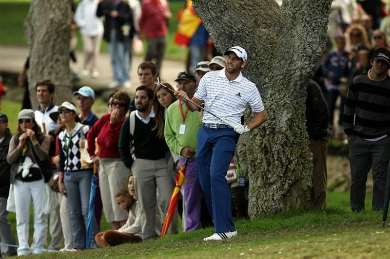 SOTOGRANDE, SPAIN - OCTOBER 31:  Sergio Garcia of Spain plays into the 10th green during the final round of the Andalucia Valderrama Masters at Club de Golf Valderrama on October 31, 2010 in Sotogrande, Spain.  (Photo by Richard Heathcote/Getty Images)