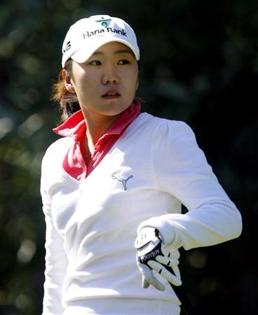 DANVILLE, CA - OCTOBER 12: In-Kyung Kim of South Korea watches a tee shot on the 8th hole during the final round of the LPGA Longs Drugs Challenge at the Blackhawk Country Club October 12, 2008 in Danville, California. (Photo by Max Morse/Getty Images)