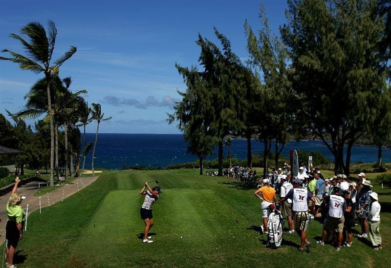 KAPALUA, HI - OCTOBER 16: Lorena Ochoa of Mexico tees off the 4th hole during the first round of the Kapalua LPGA Classic on October 16, 2008 at the Bay Course in Kapalua, Maui, Hawaii. (Photo by Donald Miralle/Getty Images)