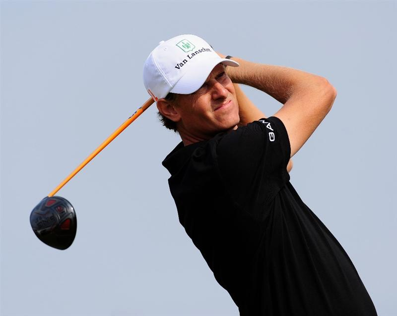 ZANDVOORT, NETHERLANDS - AUGUST 20:  Maarten Lafeber of The Netherlands plays his tee shot on the 14th hole during the first round of The KLM Open at Kennemer Golf & Country Club on August 20, 2009 in Zandvoort, Netherlands.  (Photo by Stuart Franklin/Getty Images)