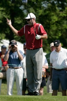GLENVIEW, IL - JUNE 1:  David McKenzie of Australia reacts after teeing off to start play on the first hole tee box during the final round of the Bank of America Open at The Glen Club June 1, 2008 in Glenview, Illinois. (Photo by Scott Boehm/Getty Images)