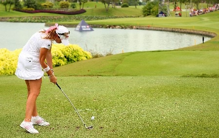 SINGAPORE - MARCH 01:  Paula Creamer of the USA hits her tee shot on the eighth hole during the third round of the HSBC Women's Champions at Tanah Merah Country Club on March 1, 2008 in Singapore.  (Photo by Scott Halleran/Getty Images)