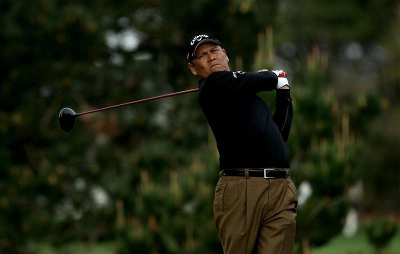 PEBBLE BEACH, CA - FEBRUARY 11:  Notah Begay, III hits his tee shot on the second hole during the first round of the AT&T Pebble Beach National Pro-Am at Pebble Beach Golf Links on February 11, 2010 in Pebble Beach, California.  (Photo by Stephen Dunn/Getty Images)
