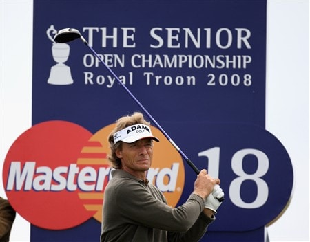 TROON, UNITED KINGDOM - JULY 23:  Bernhard Langer of Germany during a practice round prior to the Senior Open Championships at Royal Troon on July 23,2008 in Troon,Scotland.  (Photo by Ross Kinnaird/Getty Images)