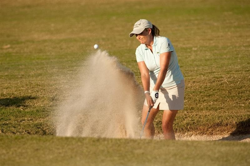 PRATTVILLE, AL - OCTOBER 9: Cristie Kerr hits a bunker shot during the third round of the Navistar LPGA Classic at the Senator Course at the Robert Trent Jones Golf Trail on October 9, 2010 in Prattville, Alabama. (Photo by Darren Carroll/Getty Images)