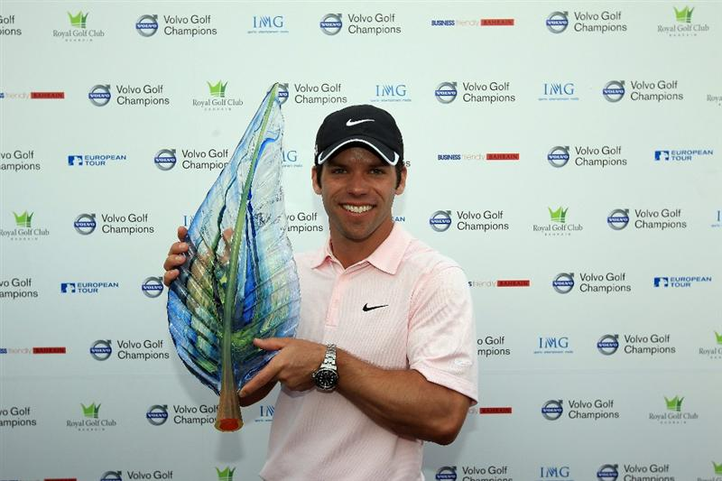 BAHRAIN, BAHRAIN - JANUARY 30:  Paul Casey of England holds the trophy after the final round of the 2011 Volvo Champions held at the Royal Golf Club on January 30, 2011 in Bahrain, Bahrain.  (Photo by David Cannon/Getty Images)