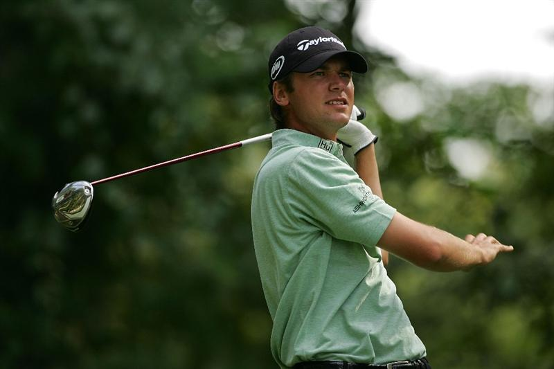 NORTON, MA - SEPTEMBER 07:  Sean O'Hair reacts to his errant drive on the ninth hole during the final round of the Deutsche Bank Championship at TPC Boston held on September 7, 2009 in Norton, Massachusetts.  (Photo by Michael Cohen/Getty Images)