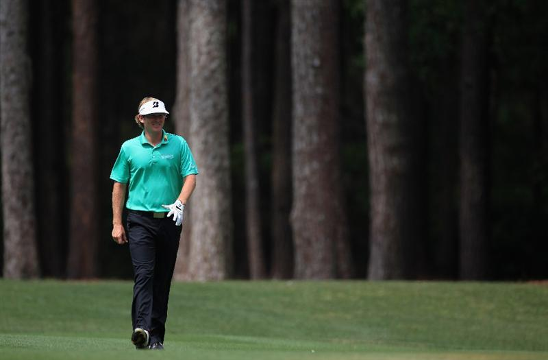 HILTON HEAD ISLAND, SC - APRIL 22:  Brandt Snedeker smiles as he walks down the fairway during the second round of The Heritage at Harbour Town Golf Links on April 22, 2011 in Hilton Head Island, South Carolina.  (Photo by Streeter Lecka/Getty Images)