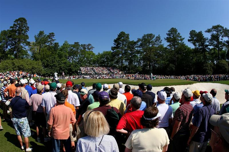 AUGUSTA, GA - APRIL 11:  A general view of the play at the first green during the third round of the 2009 Masters Tournament at Augusta National Golf Club on April 11, 2009 in Augusta, Georgia.  (Photo by Andrew Redington/Getty Images)