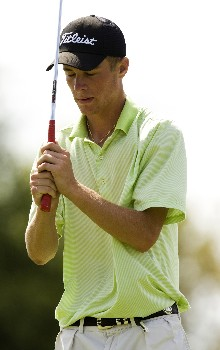 PINEHURST, NC - AUGUST 24:  Drew Kittleson reacts after missing a putt on the 18th hole during the final round of the U.S. Amateur Championship at Pinehurst Resort & Country Club August 24, 2008 in Pinehurst, North Carolina.  (Photo by Chris Keane/Getty Images)