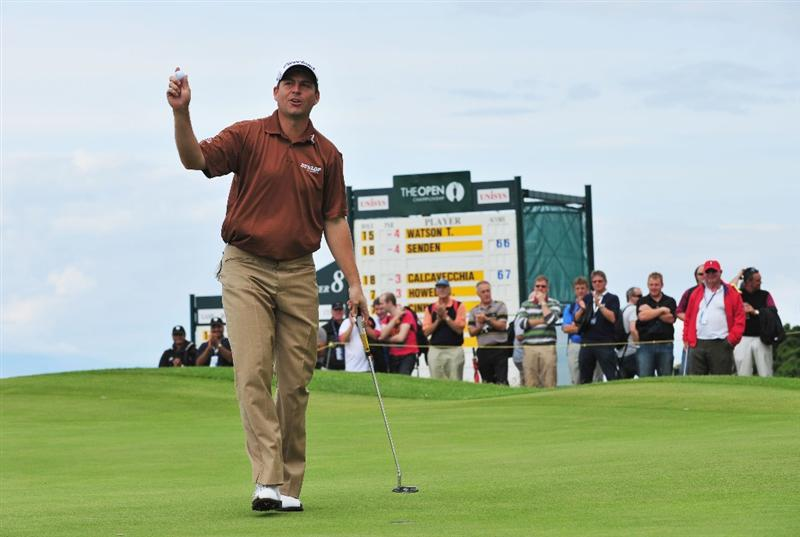 TURNBERRY, SCOTLAND - JULY 16:  David Howell of England acknowledges the crowd during round one of the 138th Open Championship on the Ailsa Course, Turnberry Golf Club on July 16, 2009 in Turnberry, Scotland.  (Photo by Stuart Franklin/Getty Images)