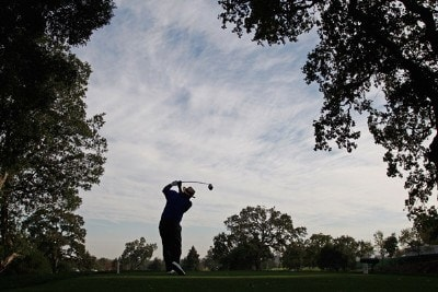 Jim Thorpe tees off on the 10th hole during the second round of the Charles Schwab Cup Championship at Sonoma Golf Club October 26, 2007 in Sonoma, California. Champions Tour - 2007 Charles Schwab Cup Championship - Second RoundPhoto by Chris Condon/PGA TOUR/WireImage.com