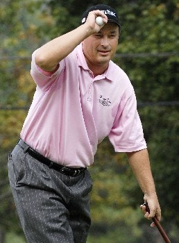 TIMONIUM, MD - OCTOBER 5:  Loren Roberts acknowledges the gallery after completing his round at the 18th green during the second round of the LPGA Longs Drugs Challenge at the Blackhawk Country Club October 5, 2007 in Danville, California.  (Photo by Robert Laberge/Getty Images)