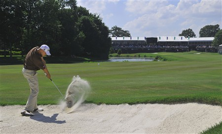 MEMPHIS, TN - JUNE 07:  Bill Haas blasts out of the fairway bunker during the third round of the Standford St. Jude Championship at the TPC Southwind on June 7, 2008 in Memphis, Tennessee.  (Photo by Marc Feldman/Getty Images)