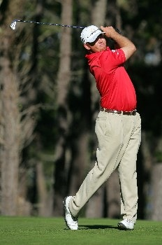 PEBBLE BEACH, CA - FEBRUARY 9:  J.B. Holmes hits a tee shot on the 11th hole during the third round of the AT&T Pebble Beach National Pro-Am at the Poppy Hills Golf Course February 9, 2008 in Pebble Beach, California.  (Photo by Jeff Gross/Getty Images)