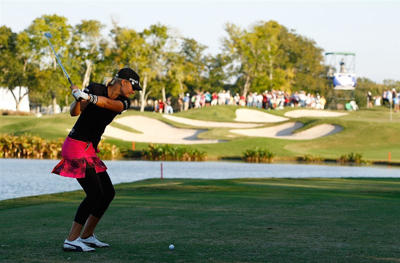 RICHMOND, TX - NOVEMBER 23:  Anna Nordqvist of Sweden hits her tee shot on the 17th hole during the final round of the LPGA Tour Championship presented by Rolex at the Houstonian Golf and Country Club on November 23, 2009 in Richmond, Texas.  (Photo by Scott Halleran/Getty Images)