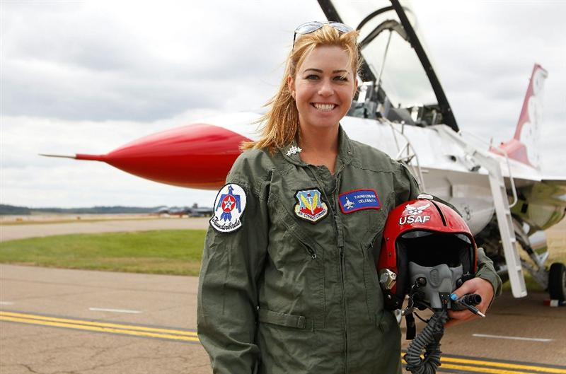 PITTSBURGH - SEPTEMBER 09:  Women's US Open Champion Paula Creamer stands in front of an F-16  after flying with the U.S. Air Force Thunderbirds on September 9, 2010 at the Air Force Reserve Base in Pittsburgh, Pennsylvania.  (Photo by Jared Wickerham/Getty Images)