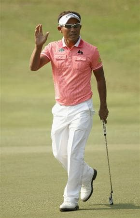 NEW DELHI, INDIA - FEBRUARY 19:  Thongchai Jaidee of Thailand celebrates a putt on the 17th green during the second round of the Avantha Masters held at The DLF Golf and Country Club on February 19, 2011 in New Delhi, India.  (Photo by Ian Walton/Getty Images)