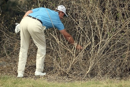 DELHI, INDIA - FEBRUARY 7:  Ernie Els of South Africa retrieves his ball from a bush after his fourth shot at the 18th hole on his way to taking a four over par 9 on the hole during the first round of the Emaar-MGF Indian Masters at the Delhi Golf Club on February 7, 2008 in Delhi, India.  (Photo by David Cannon/Getty Images)