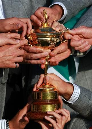 NEWPORT, WALES - OCTOBER 04:  A detail shot of the members of the European Team with the Ryder Cup following Europe's 14.5 to 13.5 victory over the USA at the 2010 Ryder Cup at the Celtic Manor Resort on October 4, 2010 in Newport, Wales.  (Photo by Andrew Redington/Getty Images)