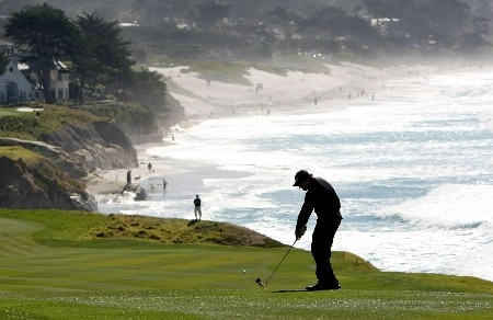 PEBBLE BEACH, CA - FEBRUARY 9:  Phil Mickelson hits from the ninth fairway during the third round of the AT&T Pebble Beach National Pro-Am at Pebble Beach Golf Links February 9, 2008 in Pebble Beach, California.  (Photo by Jed Jacobsohn/Getty Images)