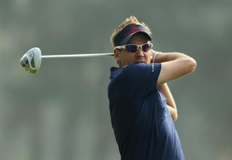 HONG KONG - NOVEMBER 19: Ian Poulter of England tees off on the 14th hole during day two of the UBS Hong Kong Open at The Hong Kong Golf Club on November 19, 2010 in Hong Kong, Hong Kong.  (Photo by Stanley Chou/Getty Images)