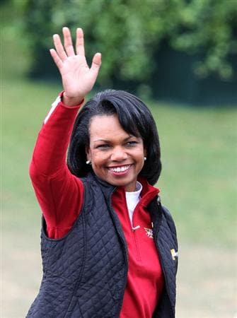 SAN FRANCISCO - OCTOBER 11:  Condoleezza Rice waves to the gallery during the closing ceremonies during the Final Round Singles Matches of The Presidents Cup at Harding Park Golf Course on October 11, 2009 in San Francisco, California.  (Photo by David Cannon/Getty Images)