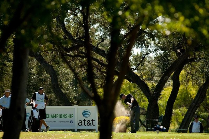 SAN ANTONIO, TX - OCTOBER 29: Bob Tway follows through on a tee shot during the first round of the AT&T Championship at Oak Hills Country Club on October 29, 2010 in San Antonio, Texas. (Photo by Darren Carroll/Getty Images)