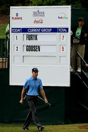ATLANTA - SEPTEMBER 26:  Jim Furyk walks up to the sixth green during the final round of THE TOUR Championship presented by Coca-Cola at East Lake Golf Club on September 26, 2010 in Atlanta, Georgia.  (Photo by Kevin C. Cox/Getty Images)