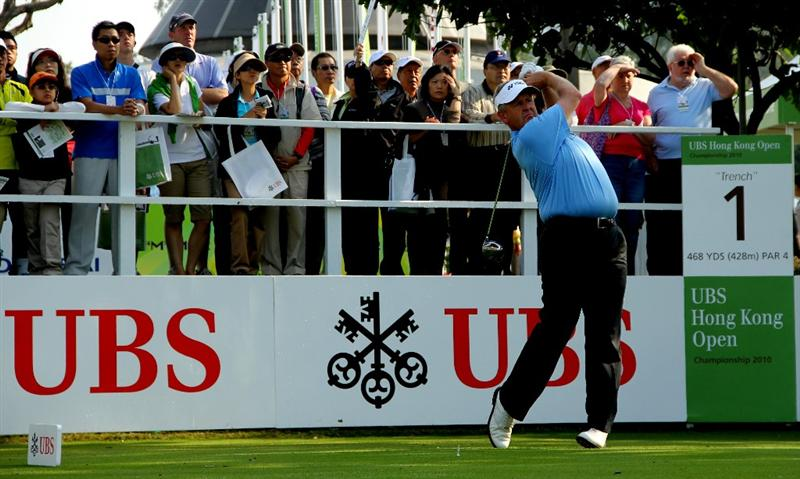HONG KONG - NOVEMBER 20: Colin Montgomerie of Scotland tees off on the 1st tee during day three of the UBS Hong Kong Open at The Hong Kong Golf Club on November 20, 2010 in Hong Kong, Hong Kong.  (Photo by Stanley Chou/Getty Images)