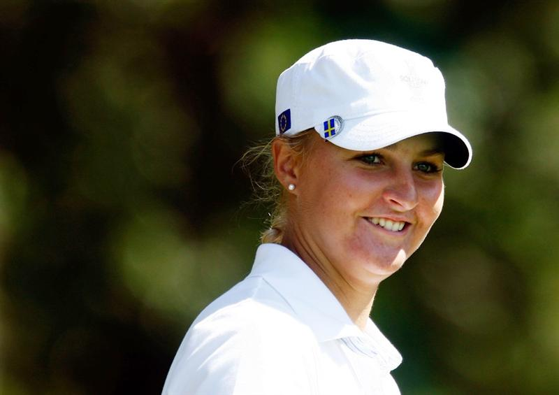 SUGAR GROVE, IL - AUGUST 18:  Anna Nordqvist of the European Team walk off a tee box during a practice round prior to the start of the 2009 Solheim Cup at Rich Harvest Farms on August 18, 2009 in Sugar Grove, Illinois.  (Photo by Scott Halleran/Getty Images)