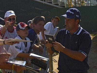 Jose Maria Olazabal signs autographs during the Monday practice round on July 17, 2006 at the 2006 Open Championship held at Royal Liverpool Golf Club in Hoylake, EnglandPhoto by Marc Feldman/WireImage.com