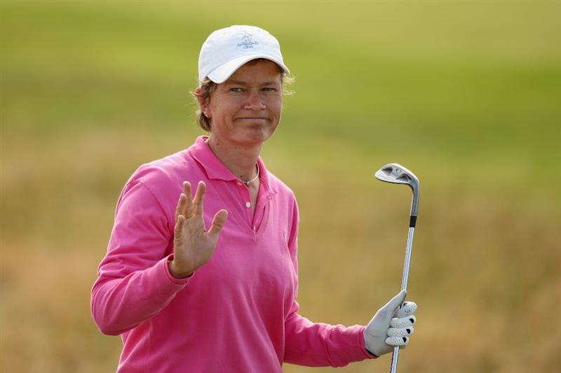 LYTHAM ST ANNES, ENGLAND - AUGUST 02:  Catriona Matthew of Scotland acknowledges the crowd on the 16th hole on her way to victory during the final round of the 2009 Ricoh Women's British Open Championship held at Royal Lytham St Annes Golf Club, on August 2, 2009 in Lytham St Annes, England.  (Photo by Warren Little/Getty Images)